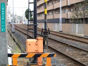 阪堺電車線路沿い 進入禁止ポイント