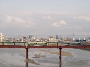 阪堺電車 大和川の橋より
